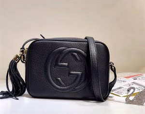 сумка черная Gucci Soho Disco Suede Small Shoulder Bag LUX